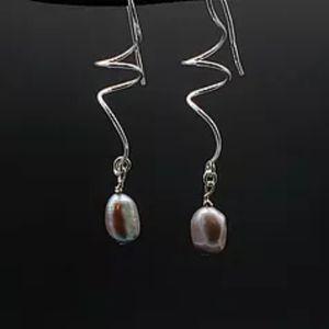 Genuine Gray Pearl & Sterling Silver Earrings